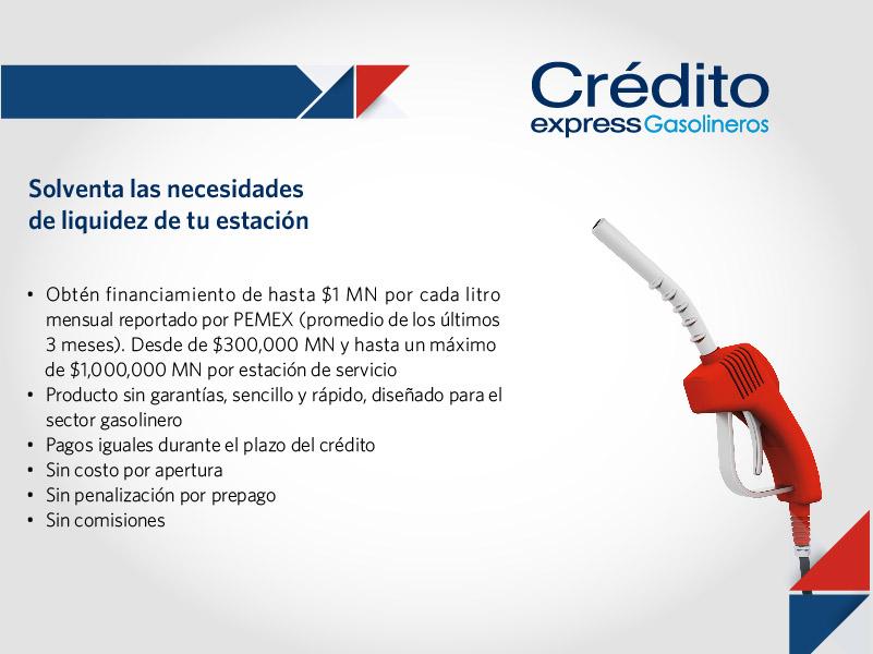 Crédito express para empresarios gasolineros